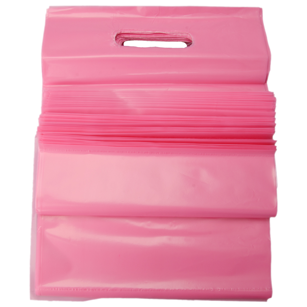 100 pcs new pink plastic t shirt retail shopping bags for Plastic bags for t shirts
