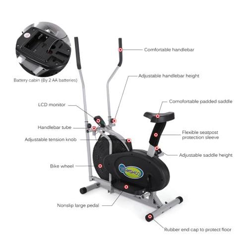 2 IN 1 Fitness Elliptical Machine Bike Trainer Exercise