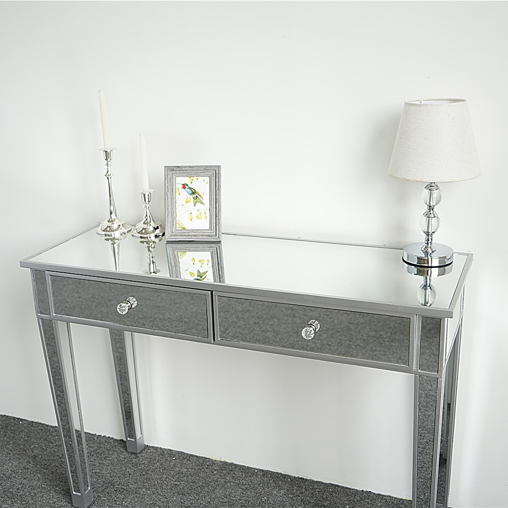 Details About Mirrored Desk Vanity Table 2 Drawer Accent Table Console Table