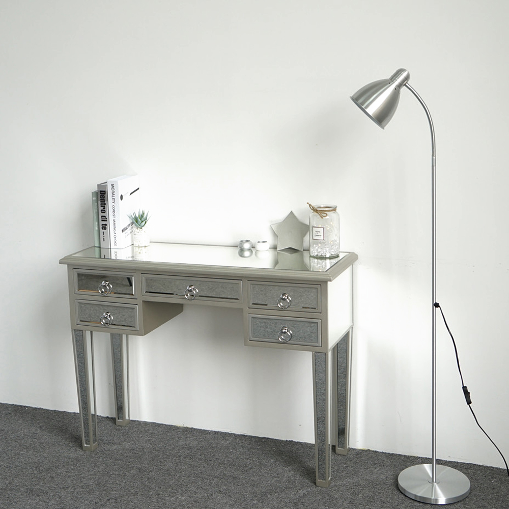 Ordinaire Details About Mirrored Console Desk Make Up Vanity Table In Silver Finish /  5 Drawers